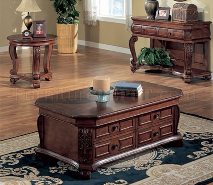 rich mahogany finish stylish coffee table with storage drawers