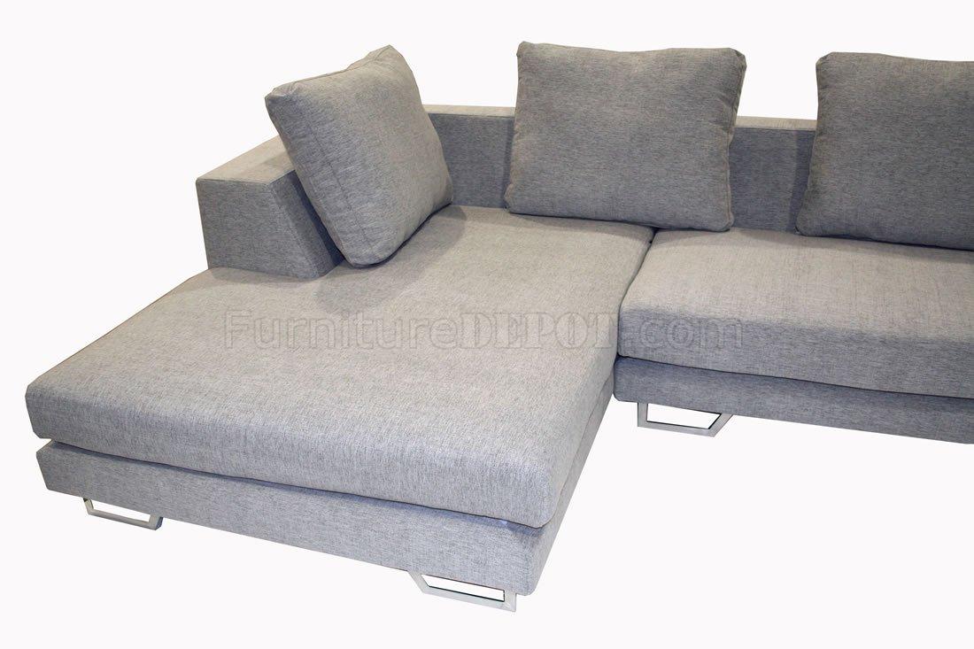 Grey fabric modern sectional sofa with metal legs for Sectional sofa metal legs