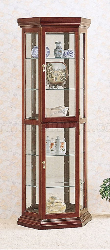 Solid wood cherry finish contemporary curio cabinet - Elegant contemporary curio cabinets furniture ...