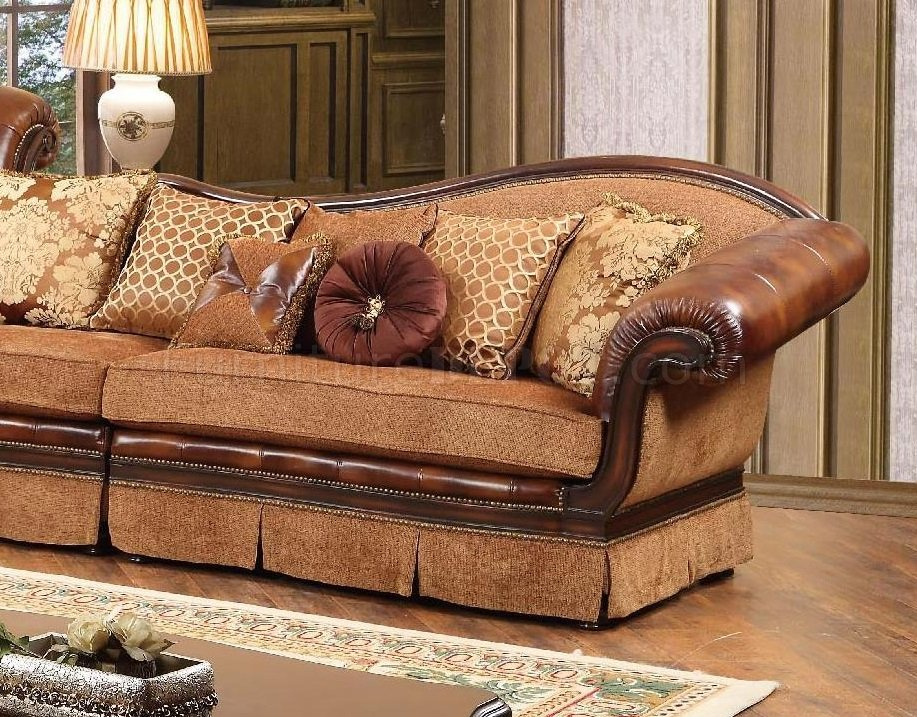 Linda Sectional Sofa In Brown Fabric Amp Bonded Leather