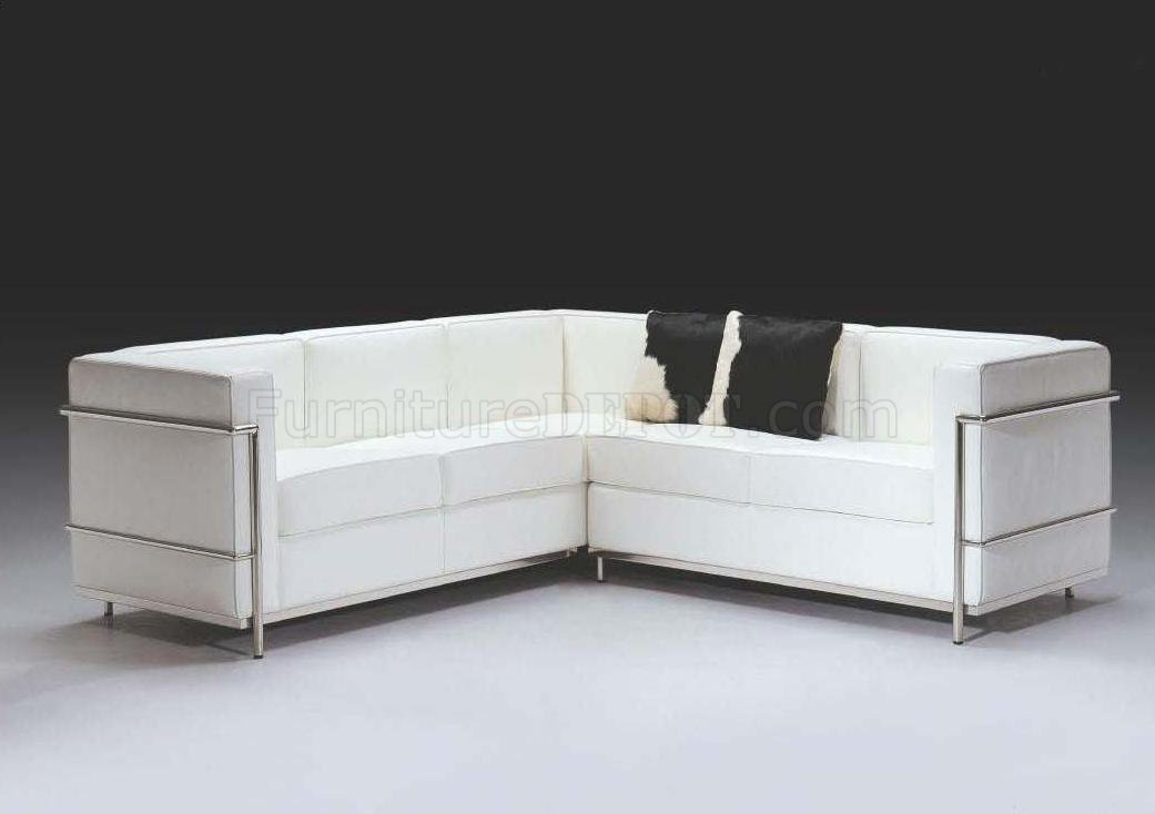 White Full Italian Leather Ultra Modern Sectional Sofa F02l