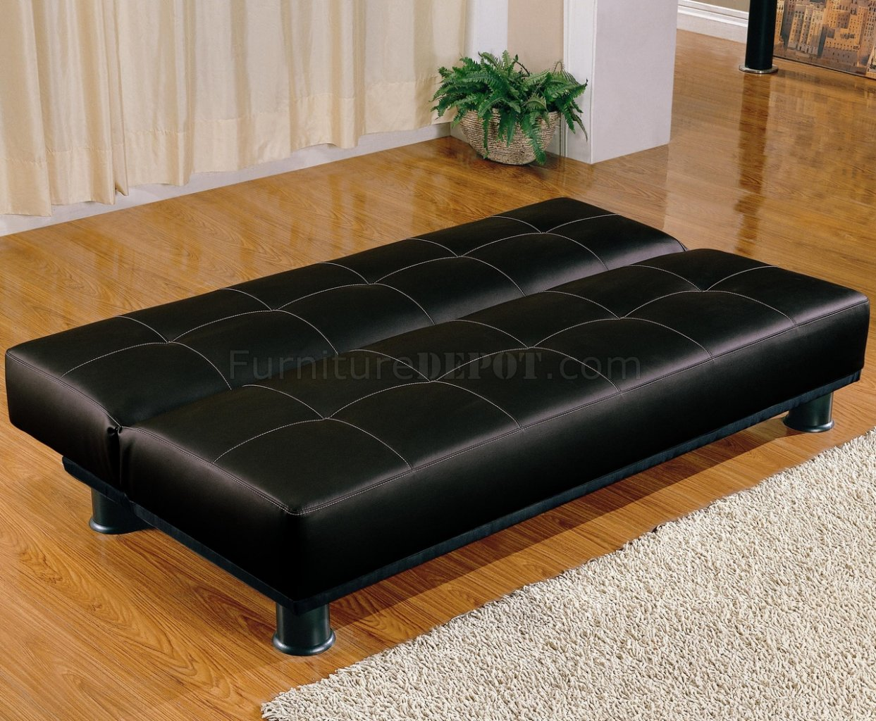 Faux Leather Modern Convertible Sofa Bed 300163 Black