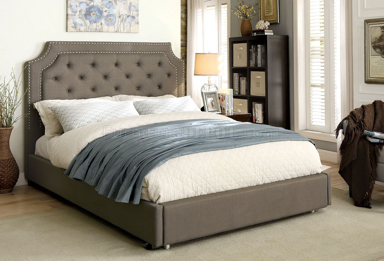 Orianna Cm7674 Upholstered Bed In Gray Fabric