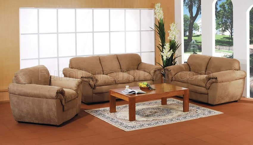 Microfiber Living Room Set Pinto Tobacco Finish Microfiber Living