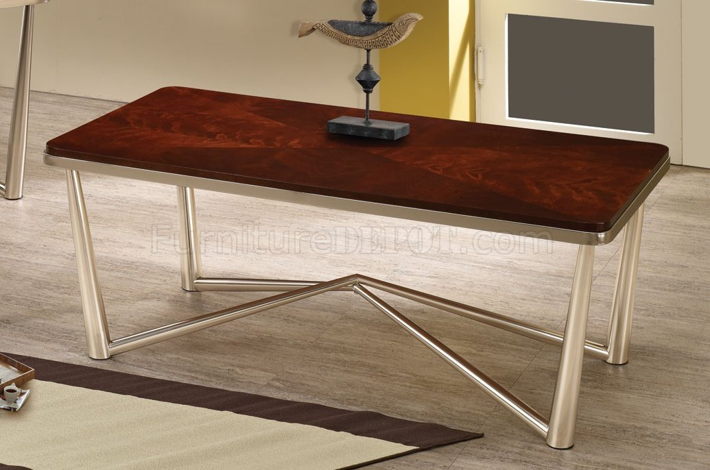 701788 3pc coffee table set by coaster w brushed nickel base for Brushed nickel coffee table
