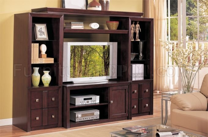 Modern Furniture Entertainment Center brown wood lcd or plasma modern entertainment center w/shelves