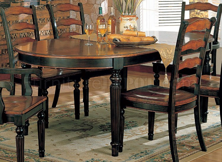 Two Toned Dining Room Furniture W Choice Of Round Or Oval