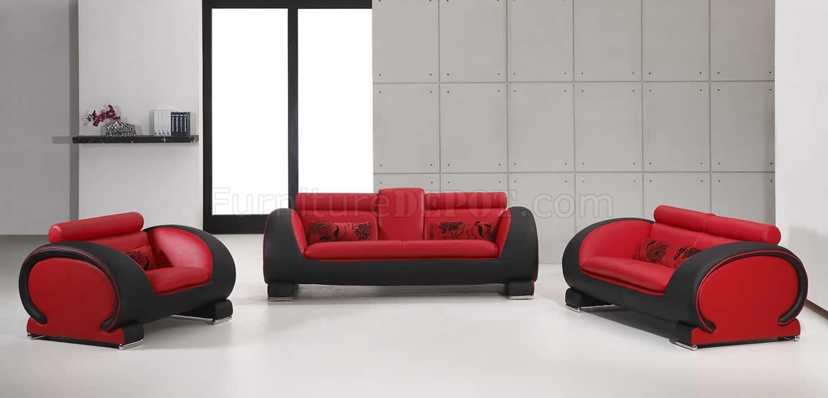 Red amp; Black TwoTone Bonded Leather Modern 3Pc Sofa Set VGS 2811