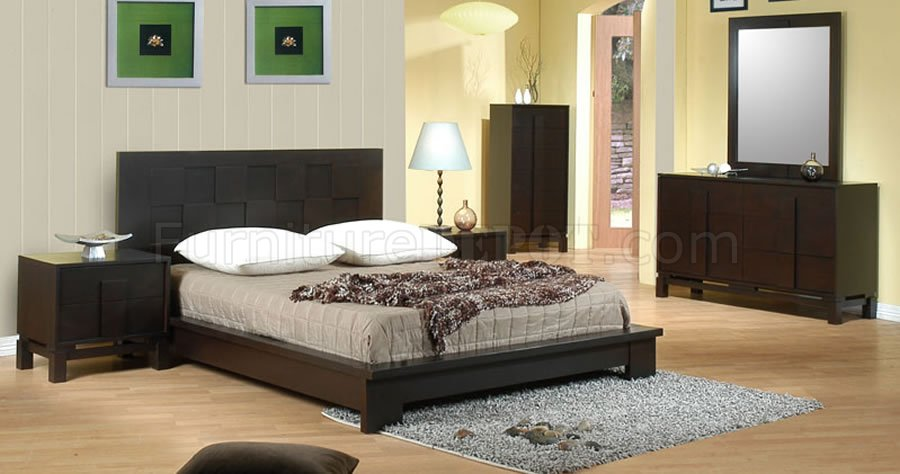 chicago contemporary bedroom wdark cappuccino finish - Modern Bedroom Furniture Chicago