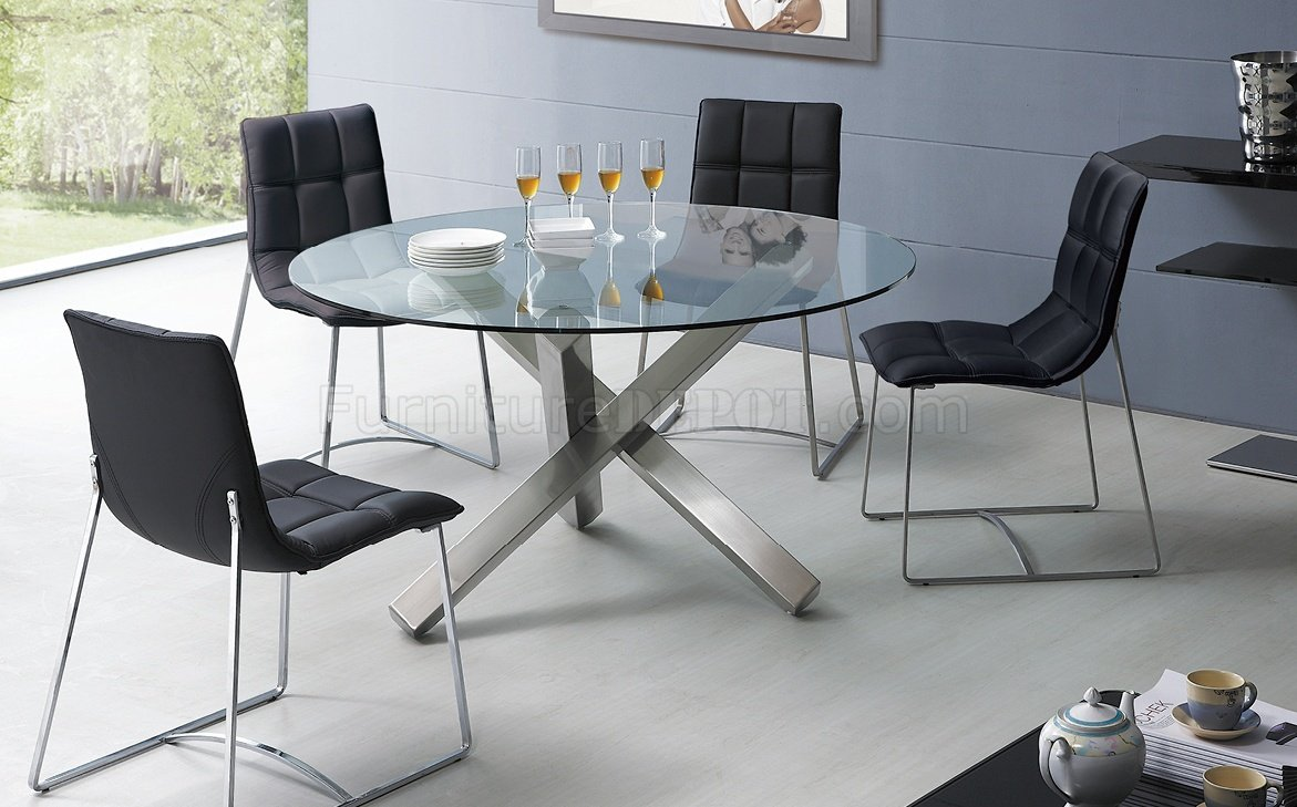 Clear Glass Round Top Modern Dining Table W Metal Base Options