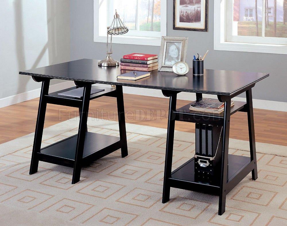 black finish trestle style office desk w open shelves