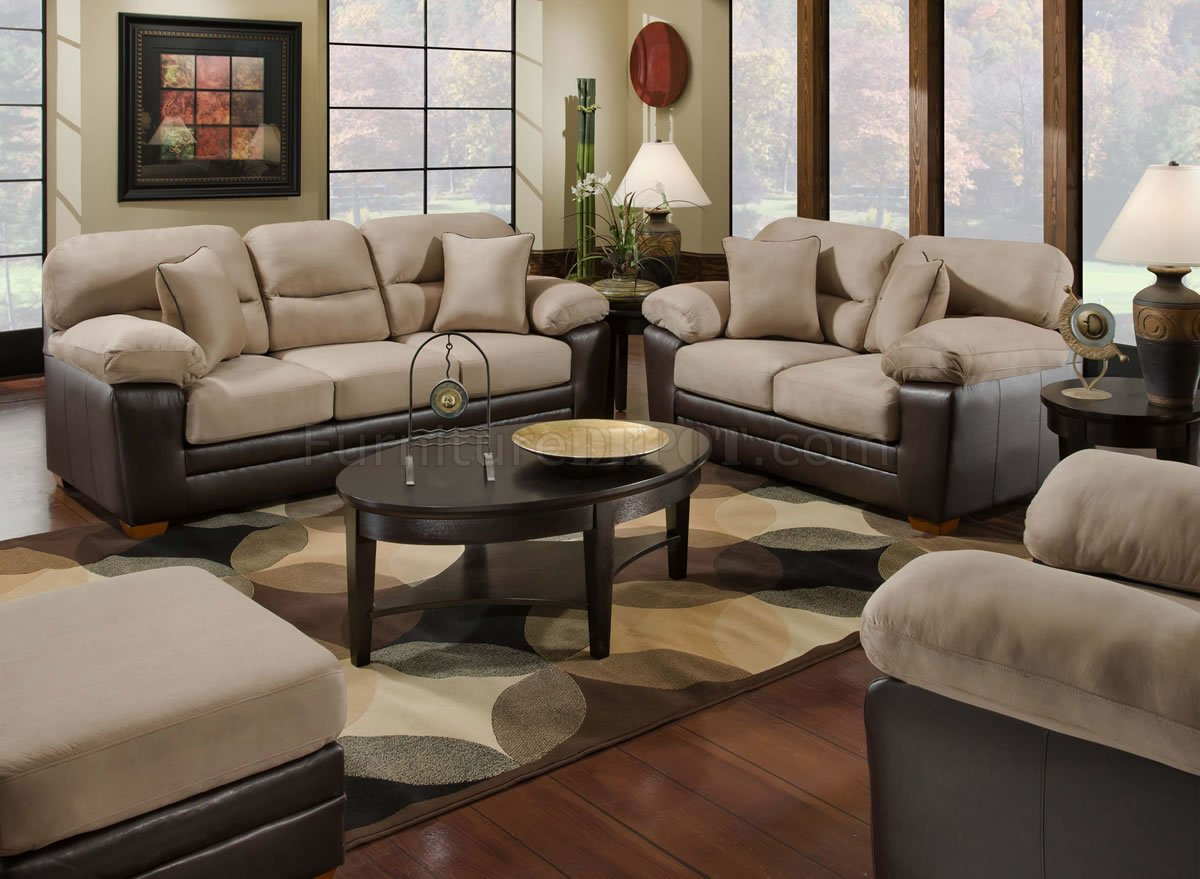 Mocha Microfiber Sofa Amp Loveseat Set W Bonded Leather Base