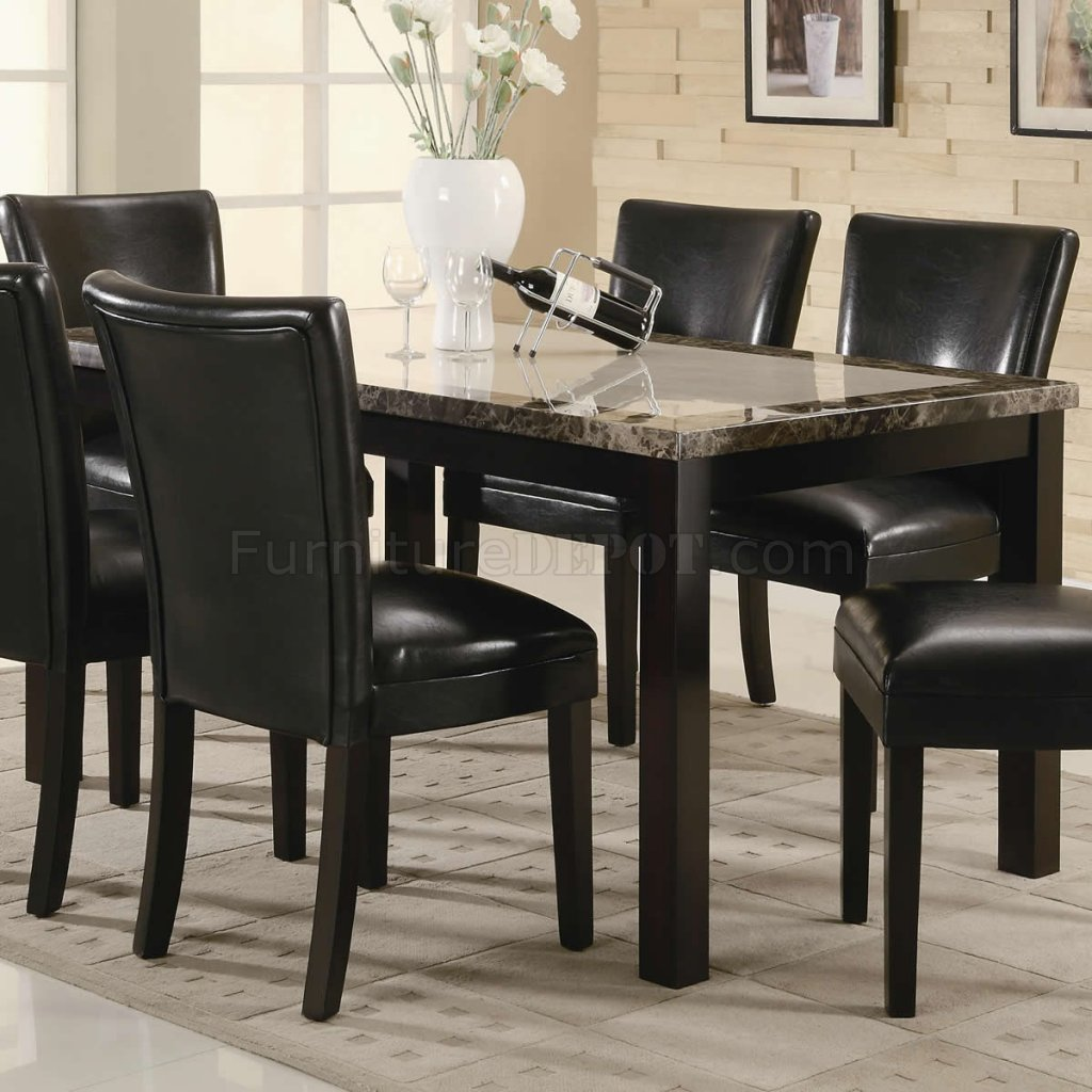 Black finish rectangular faux marble top modern 7pc Black marble dining table set