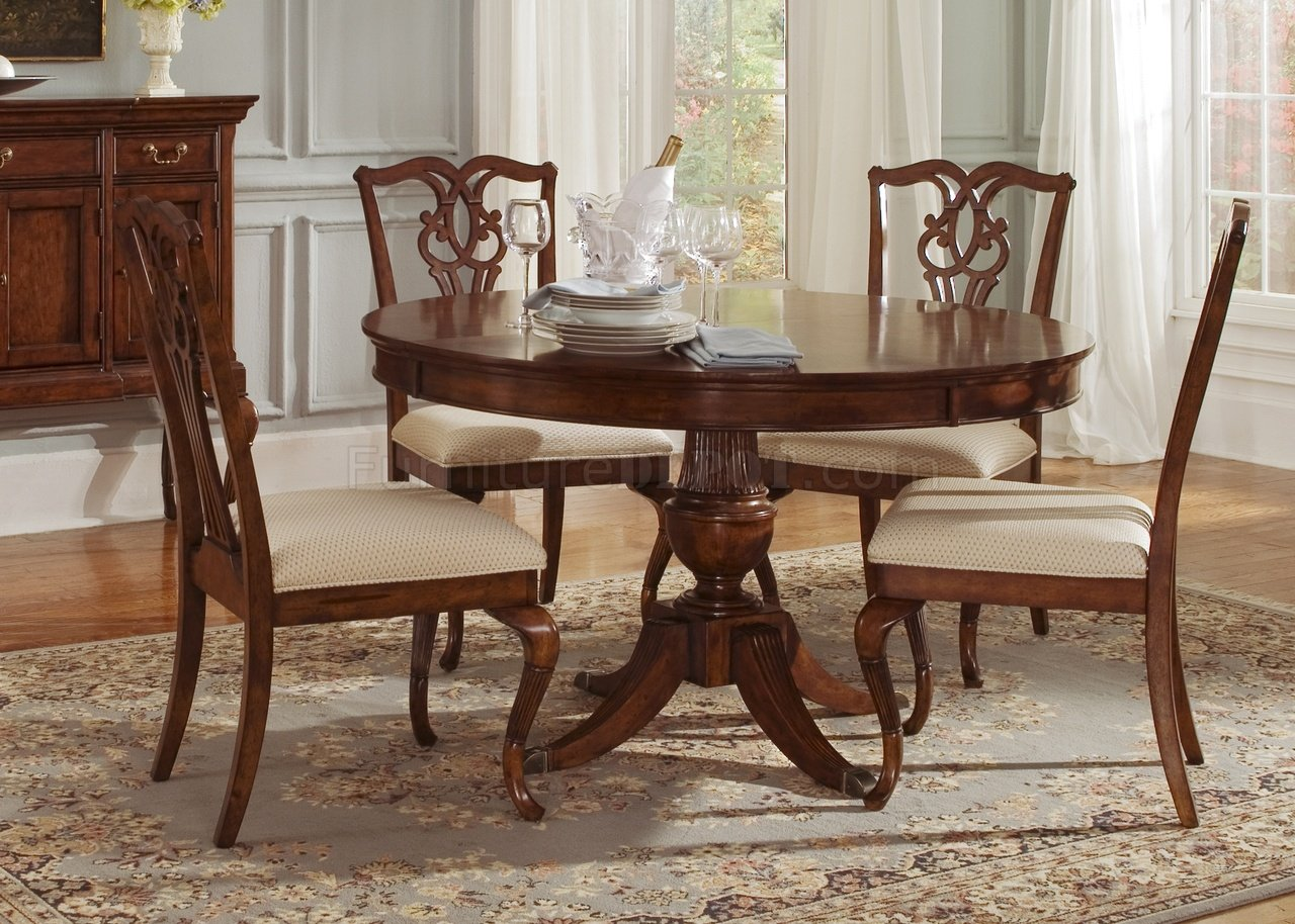 Cinnamon finish round classic dining table w pedestal leg for Classic dining tables and chairs
