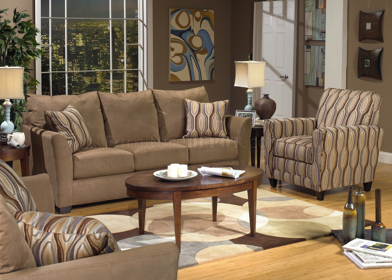 Beige Suede Fabric Modern Sofa & Loveseat Set w/Options