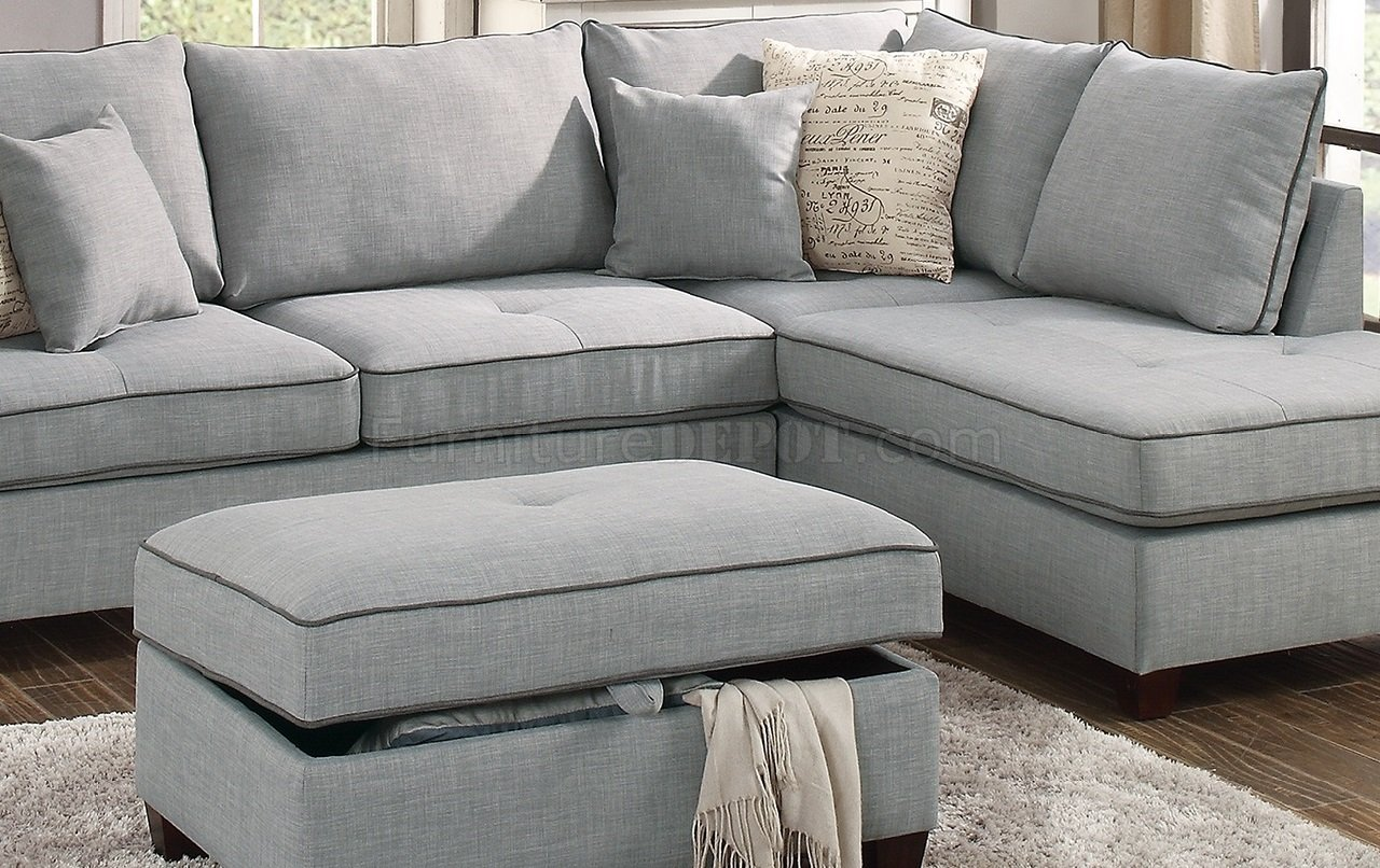 F6543 Sectional Sofa In Light Grey Fabric By Boss W Ottoman