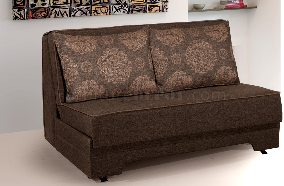 Rio pull out loveseat bed in brown fabric by rain Loveseat with pullout bed