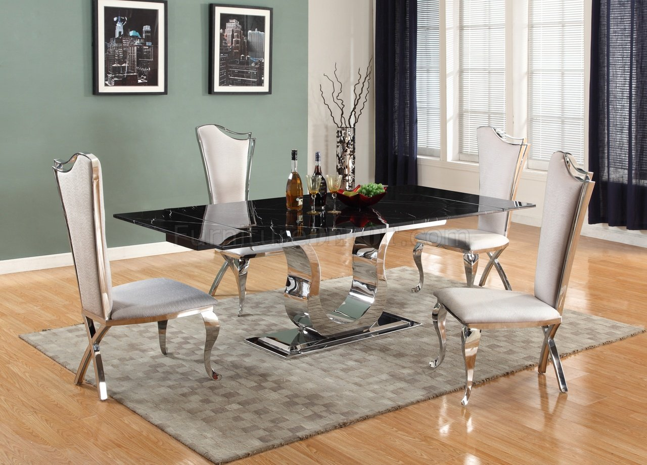Nadia Dining Table 5pc Set By Chintaly W Black Marble Top