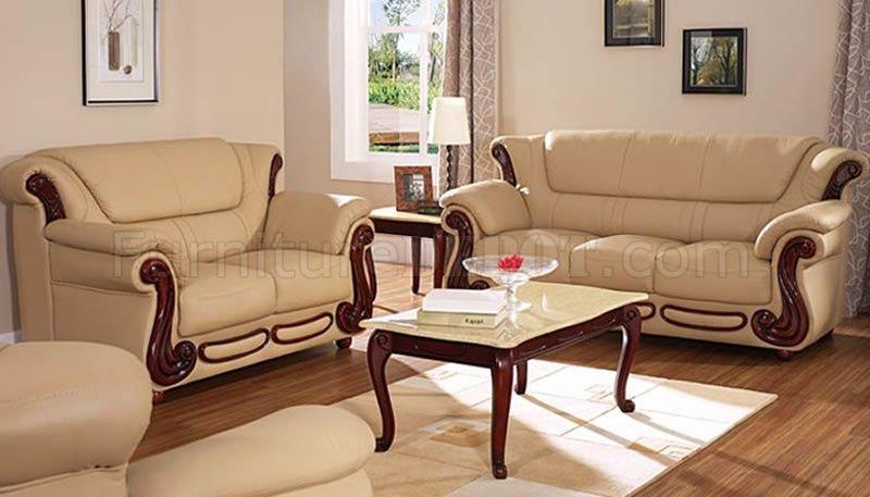 Beige Color Leather Sofa Loveseat