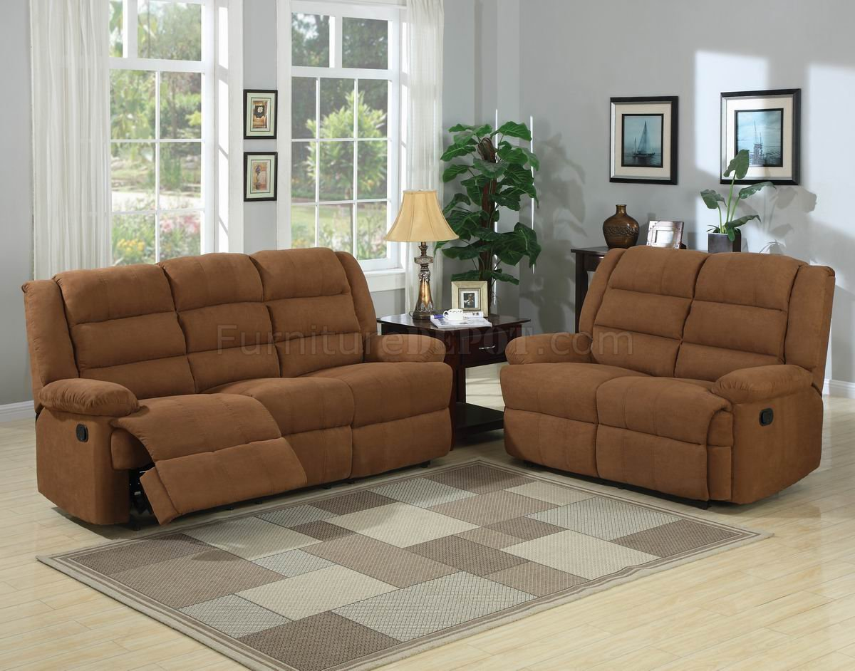Chocolate Fabric Modern Reclining Sofa Loveseat Set W