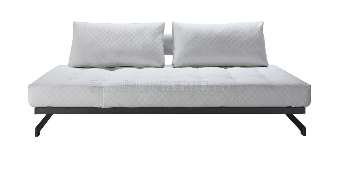 White Fabric Modern Convertible Sofa Bed w Metal Frame