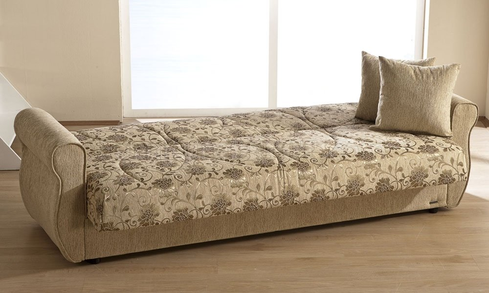 Beige Chenille Fabric Living Room Sleeper Sofa W Storage