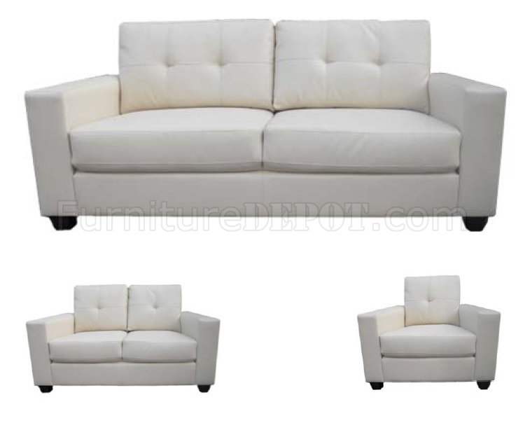 Cream Bonded Leather Modern Sofa Loveseat Set W Options