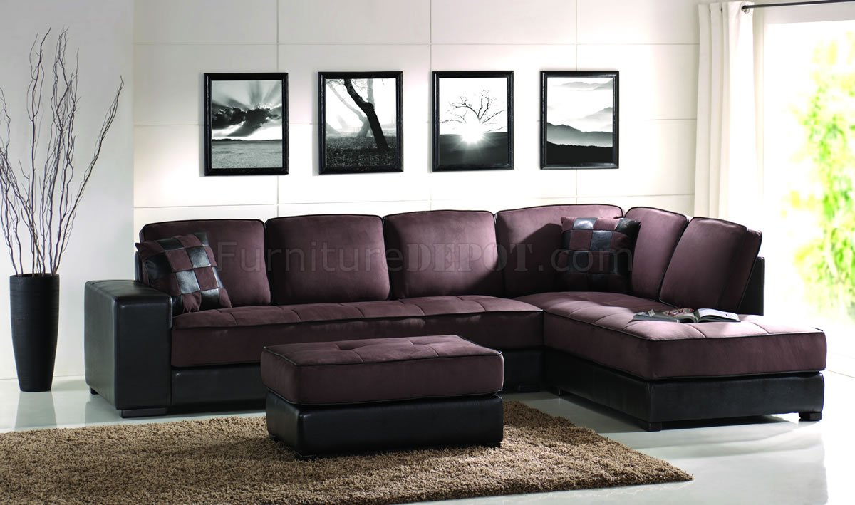 Brown Microfiber Modern Sectional Sofa W Bycast Leather Base