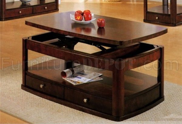 Distressed Cherry Finish Contemporary Coffee Table With Lift Top