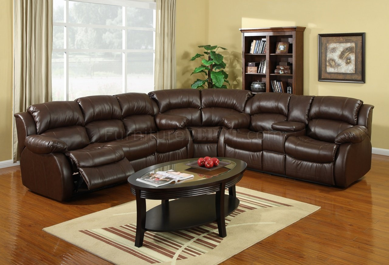 8002 reclining sectional sofa in brown bonded leather. Black Bedroom Furniture Sets. Home Design Ideas