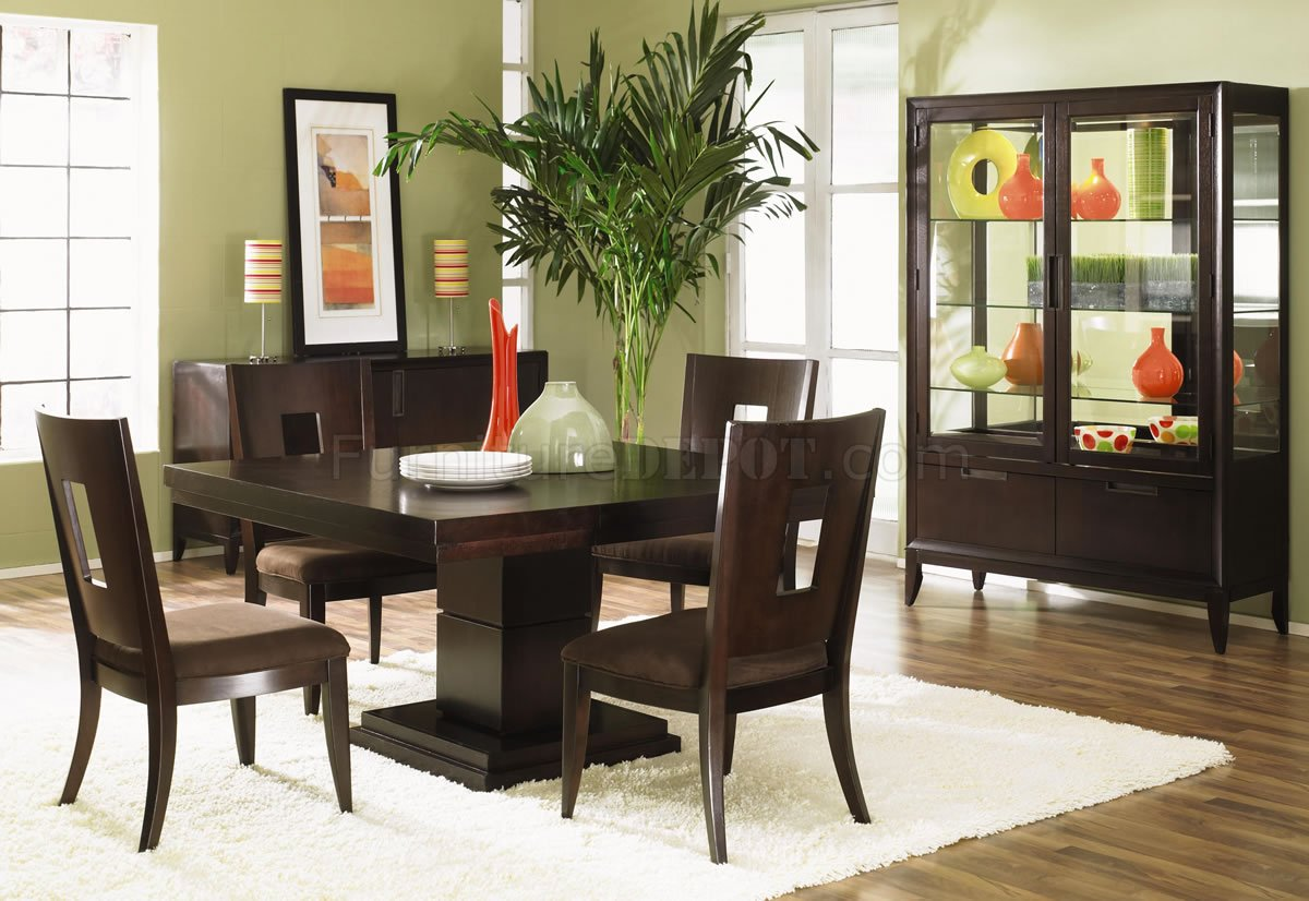 Dark Wood Finish Modern Dining Room w/Optional Items