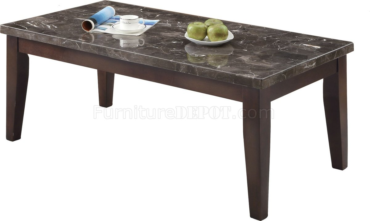 701898 3pc coffee table set by coaster w black marble top Coaster coffee tables