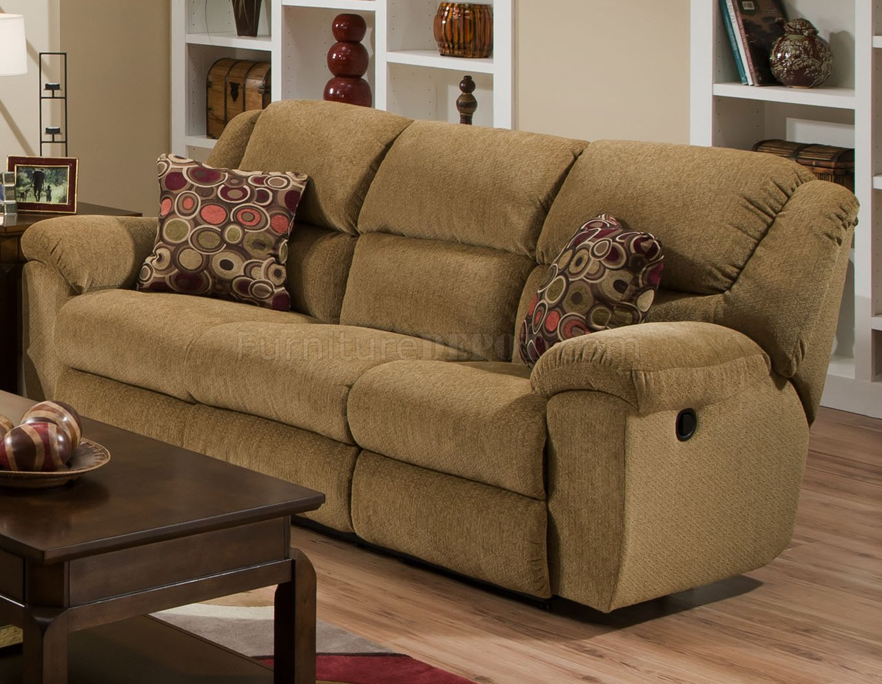 Beige Chenille Fabric Transformer Reclining Sofa Loveseat Set