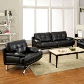 CM6038 Black Stone Sofa in Black Bonded Leather Match w/Options