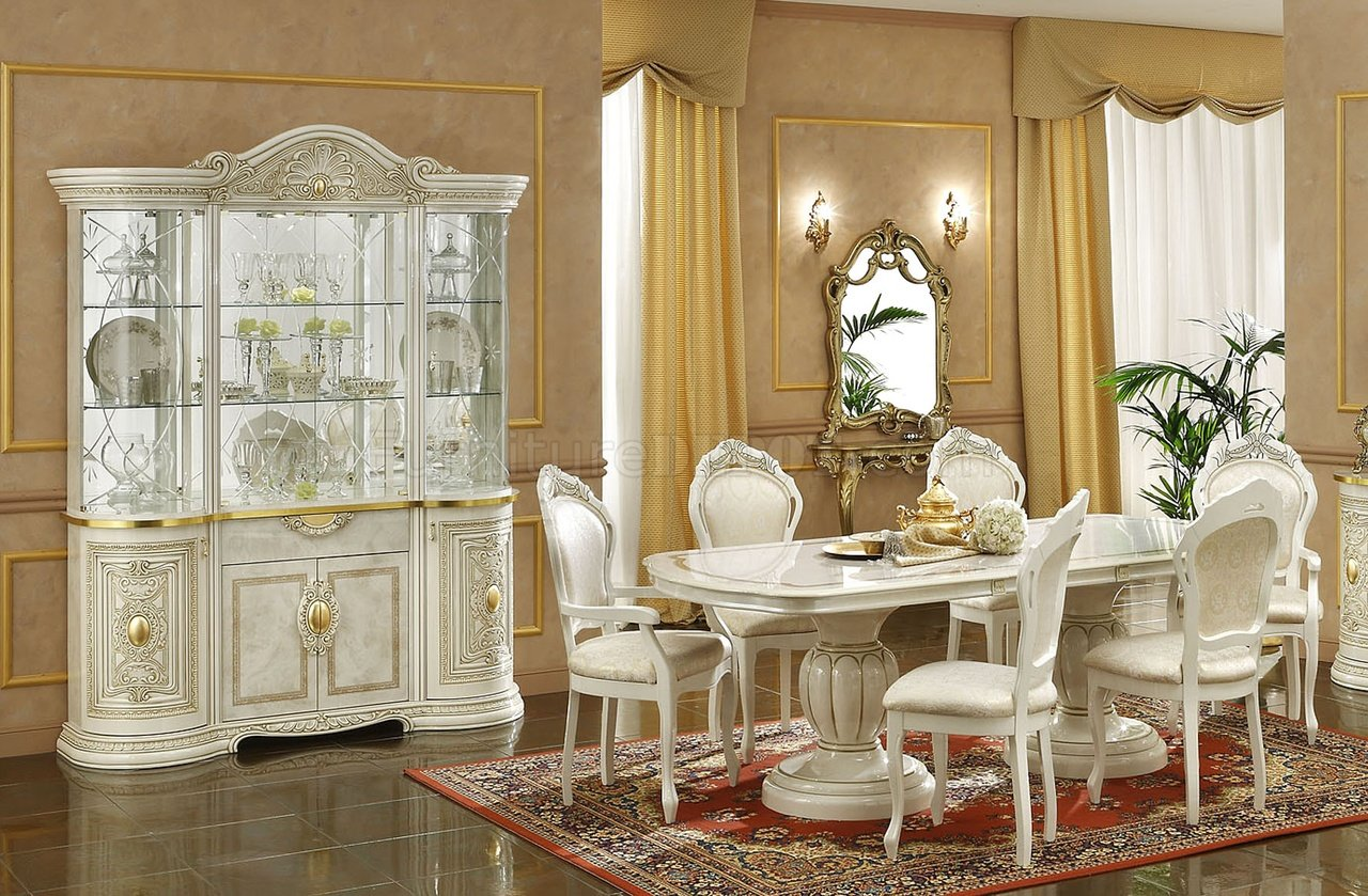ivory finish traditional dining room w optional items efds leonardo