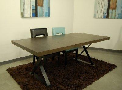 Espresso Finish Modern Dining Table W X Shaped Metal Legs