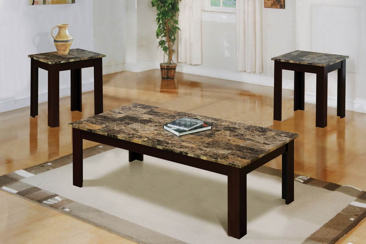 Faux Marble Top Modern 3Pc Coffee Table Set w/Brown Wood Base