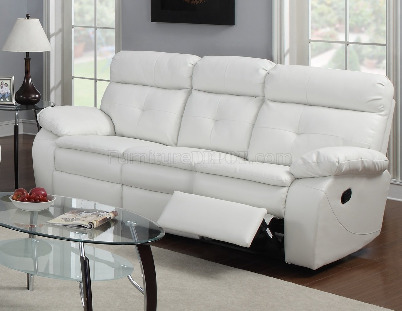 G577a reclining sofa loveseat in white bonded leather by glory Leather reclining sofa loveseat