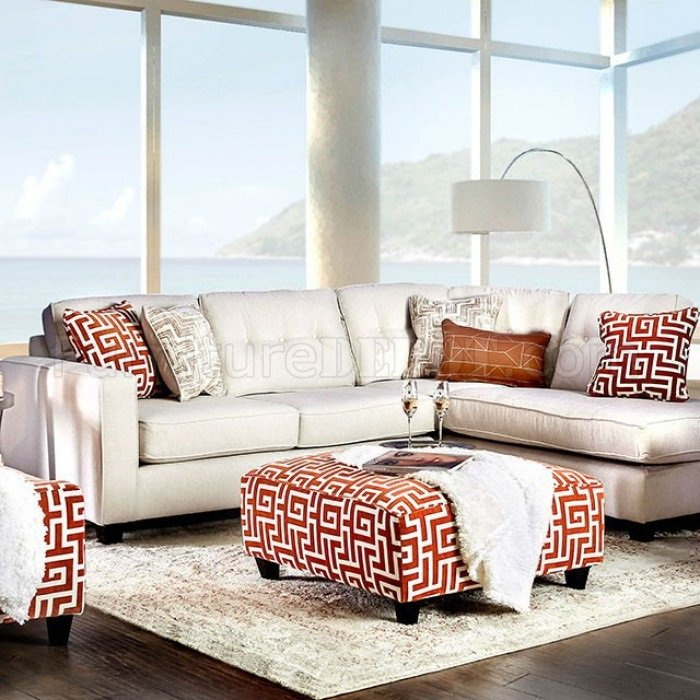 Esmay Sectional Sofa Sm8115 In Ivory Chenille Fabric W Options