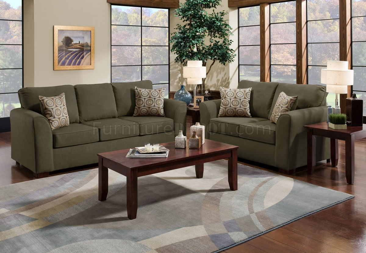 Olive Suede Microfiber Sofa Amp Loveseat Set W Optional Items