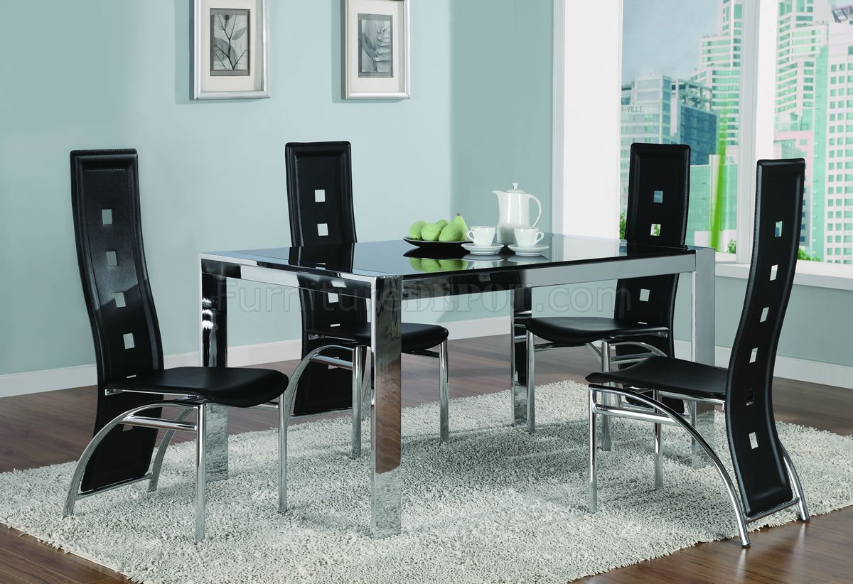 Chrome Metal Frame Dining Room Table wTinted Glass Top
