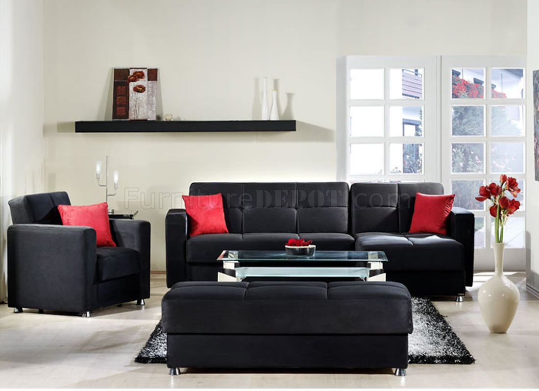 Elegant rainbow storage sectional sofa in black by sunset for Living room no couch