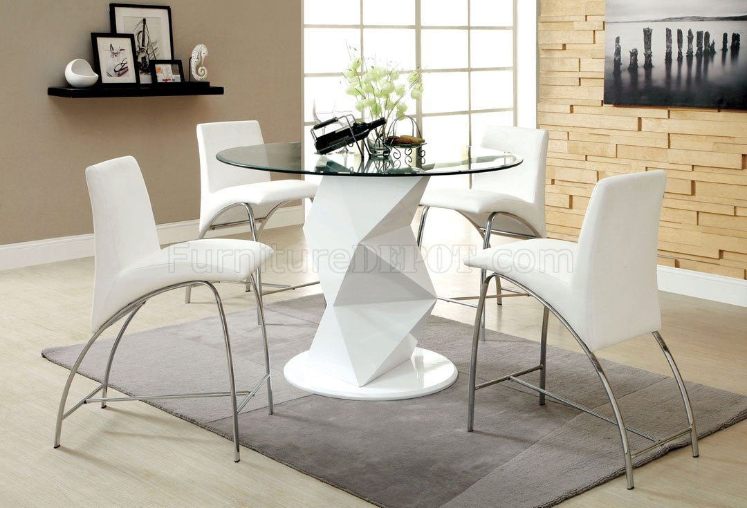 Cm8335wh Rpt Halava Iii White 5pc Counter Height Dinette Set