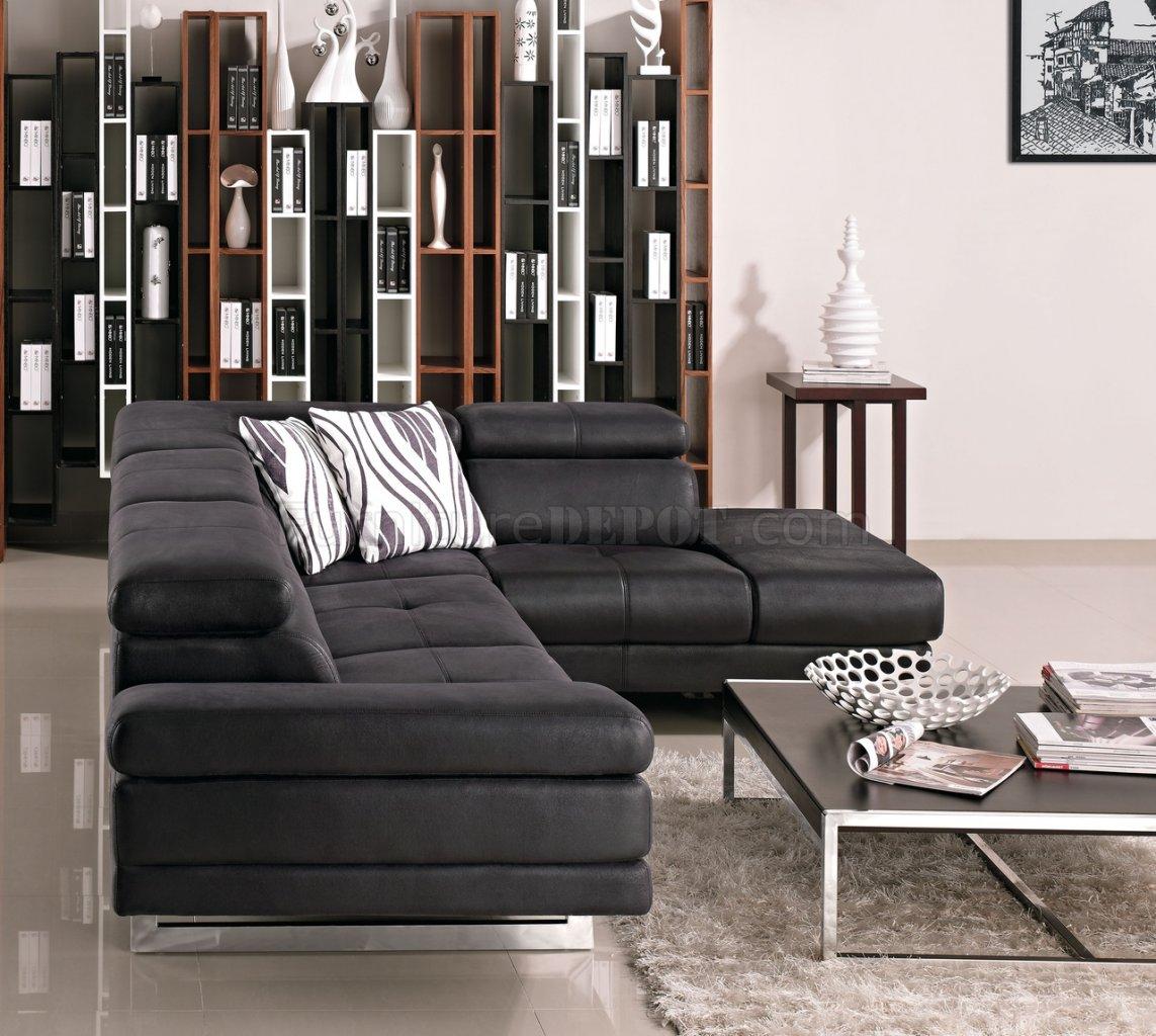 Black Fabric Modern Sectional Sofa W Adjustable Headrest