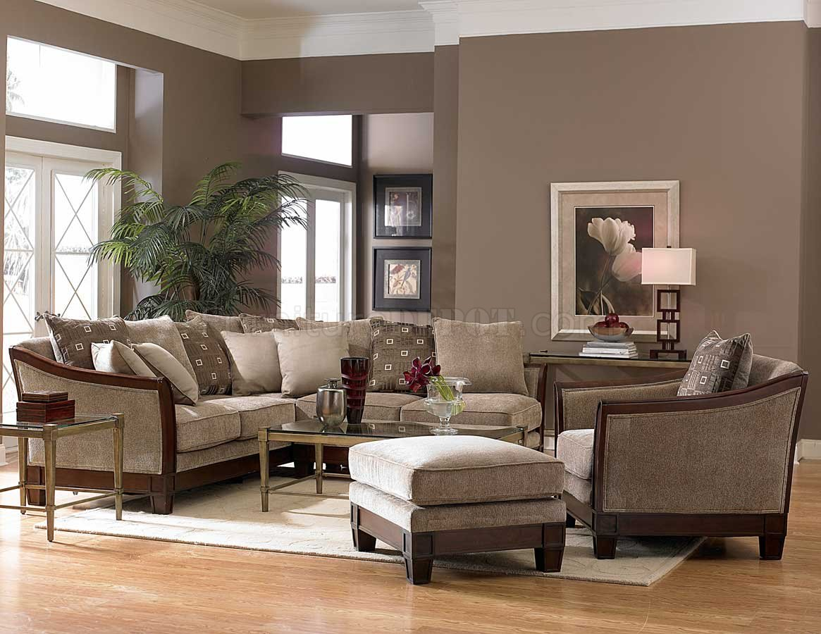 9927 trenton sectional sofa by homelegance tan chenille for Homelegance trenton sectional sofa in grey velvet