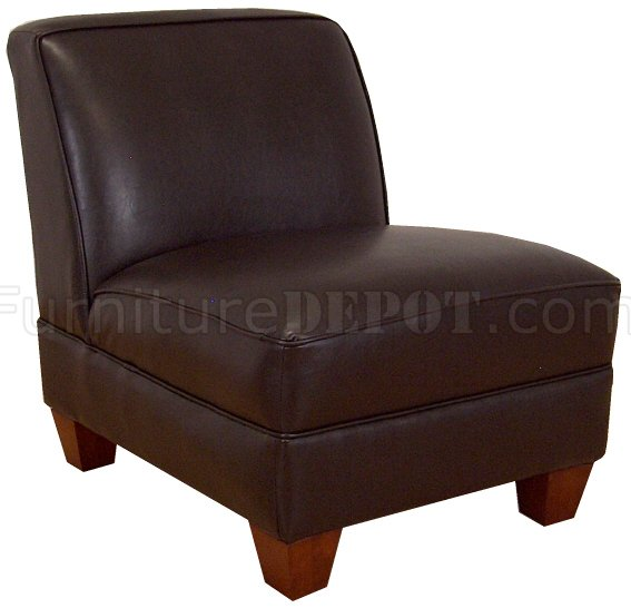 Brown vinyl modern armless chair w wooden legs pmcc 85 brown