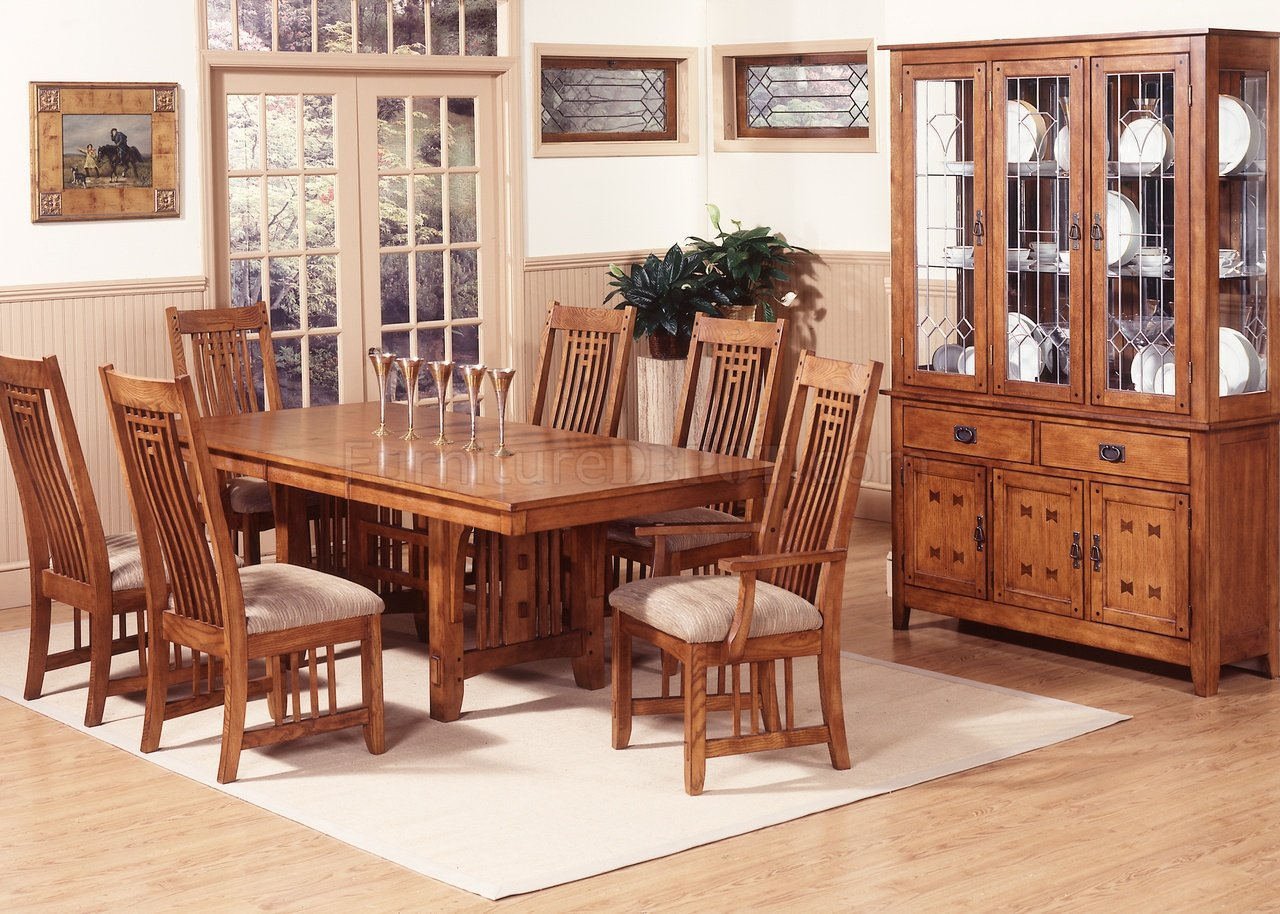 oak dining room set Mission Oak Finish Casual Dining Room Table w/Options oak dining room set