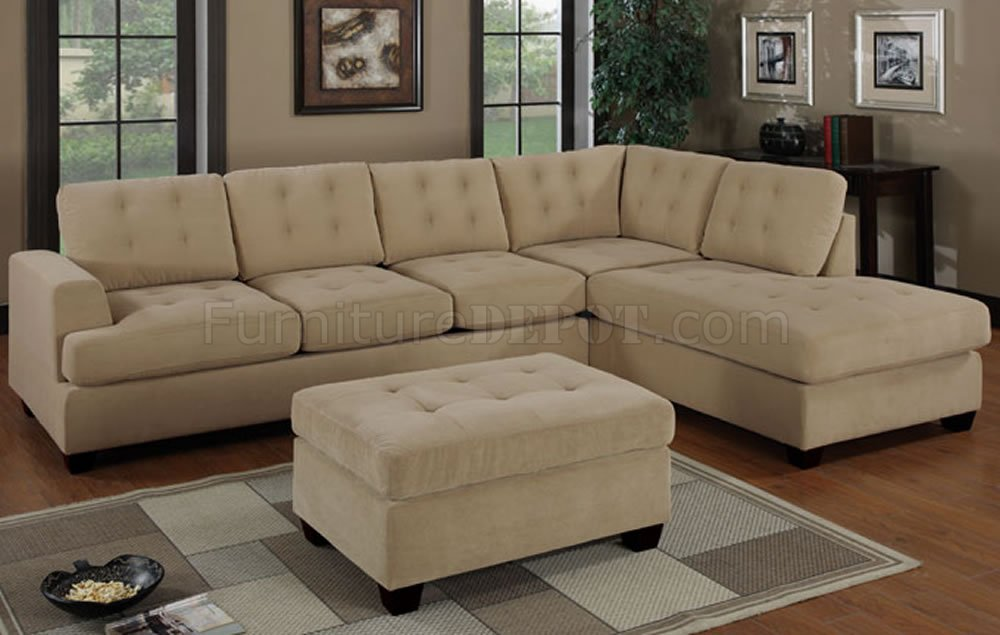 Khaki waffle suede tufted reversible sectional sofa for Suede sectional