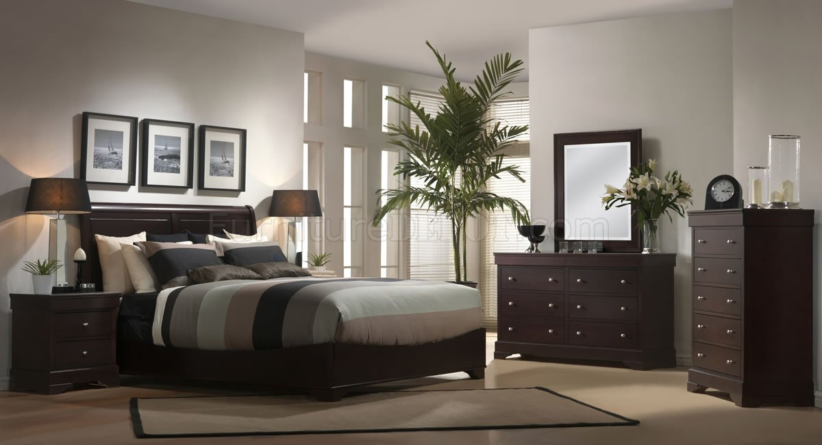 Dark Cappuccino Finish Contemporary Bedroom Set