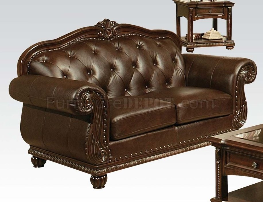 dark brown top grain leather traditional sofa woptional items